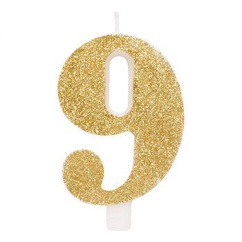 Candelina per torta oro glitter numero 2