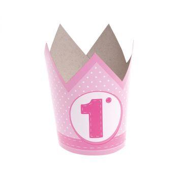Corona In Carta Primo Compleanno Rosa 6 pz