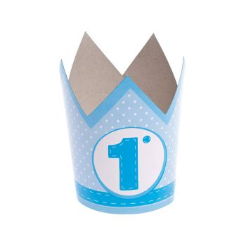 Corona In Carta Primo Compleanno Azzurro 6 pz
