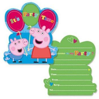 6 Biglietti invito per festa di Peppa Pig