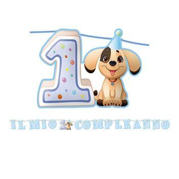 Festone Primo Compleanno Cagnolino Celeste 6 mt