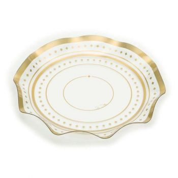 Vassoio pet trasparente con decoro oro 32 cm