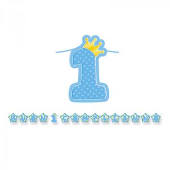 Festone Primo Compleanno Numero Uno Con Corona 6 mt