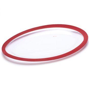 Vassoio ovale decoro rosso perlato 40 x 25 x 2 cm