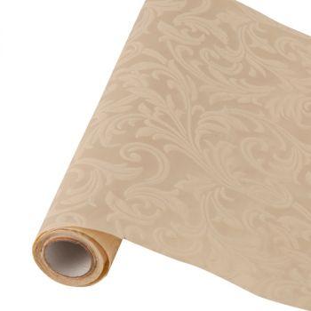 Table runner tessuto damascato floccato cm 28 x 30 avorio