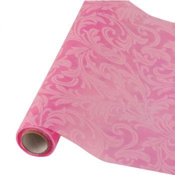 Table runner tessuto damascato floccato cm 28 x 30 rosa