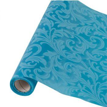 Table runner tessuto damascato floccato cm 28 x 30 azzurro