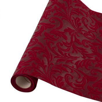 Table runner tessuto damascato floccato cm 28 x 30 bordo