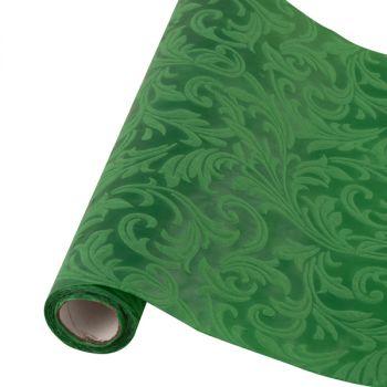 Table runner tessuto damascato floccato cm 28 x 30 verde