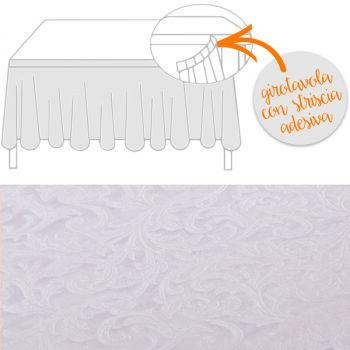 Girotavola tessuto damascato floccato cm 74 x 430 bianco
