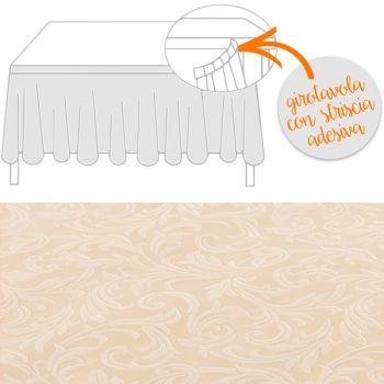 Girotavola tessuto damascato floccato cm 74 x 430 avorio
