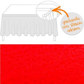 Girotavola tessuto damascato floccato cm 74 x 430 rosso