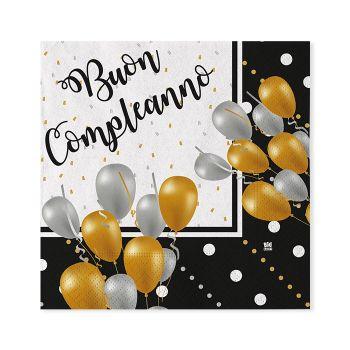 Tovaglioli Buon Compleanno Prestige 25 x 25 cm 20 pz