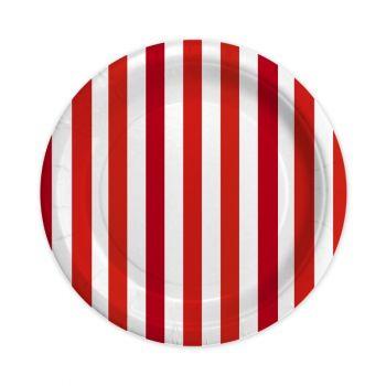 8 Piatti stripes rosso 23 cm