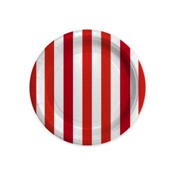 8 Piatti stripes rosso 18 cm