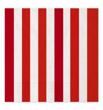 16 Tovaglioli strisce rosse 33 x 33 cm