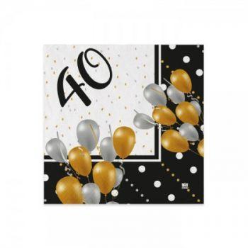 Tovaglioli 40 anni Prestige 25 x 25 cm 20 pz