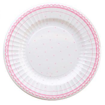 Piatto petit rosa in cartoncino da 27 cm 8 pezzi