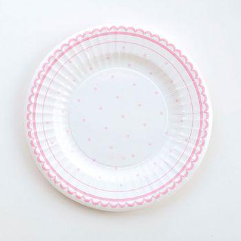 Piatto piccolo petit rosa in cartoncino 21 cm8 pezzi