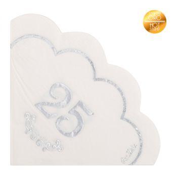 16 Tovaglioli nozze d' argento 33 x 33 cm