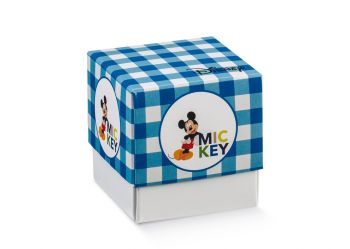 Scatola Fleur senza finestra Mickey Party Blu in cartoncino 90 x 90 x 90 mm