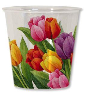 8 Piatti grandi tulipani colorati 27 cm