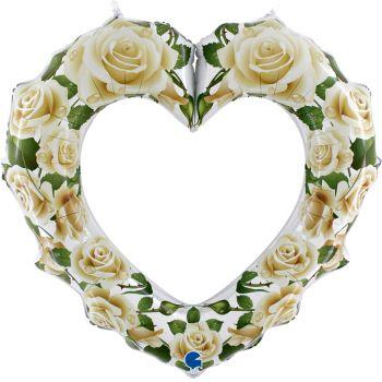 Pallone mylar cuore 107 cm  con rose bianche