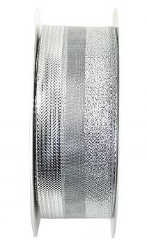 Nastro da Vinci Luccicante con filo 40 mm argento