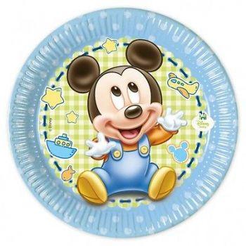 Piatto in cartoncino Baby Mickey 18 cm 8 pezzi