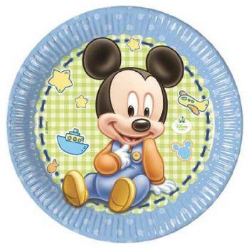 Piatto in cartoncino Baby Mickey 23 cm 8 pezzi
