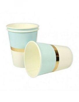 Bicchiere in cartoncino azzurro/oro