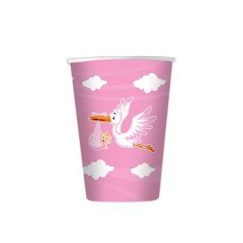 Bicchieri in cartoncino cicogna nuvola rosa per la nascita della tua bambina in confezione da 8 pezzi