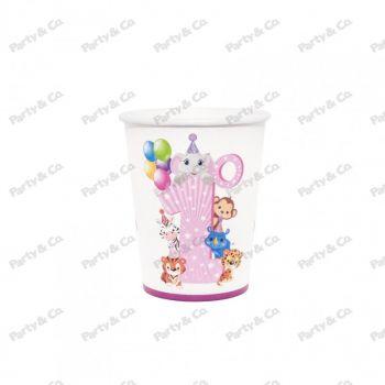 Bicchieri in cartoncino Primo Compleanno Rosa 8 pezzi