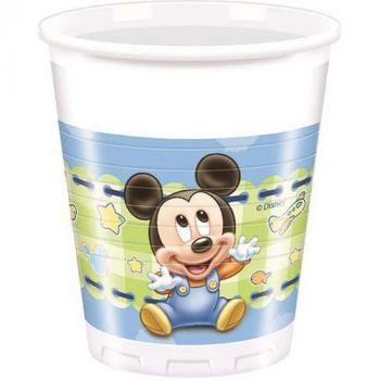Bicchieri in plastica Baby Mickey 200 cc 8 pezzi