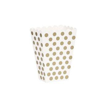 2 Box bianco a pois oro 15 cm