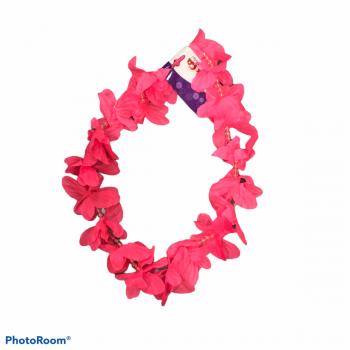 Collana di fiori hawaiana con perline rosa 100 cm