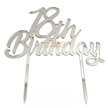 Cake topper personalizzati 18 anni argento