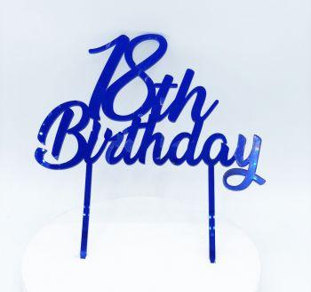 Cake Topper Plexi 18 Anni Blu  20 x 15 cm