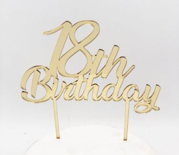 Cake Topper Plexi 18 Anni Oro  20 x 15 cm
