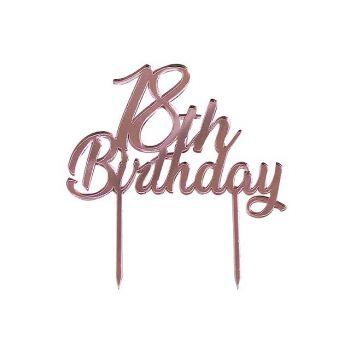Cake topper personalizzati 18 anni oro rosa
