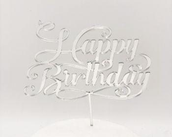 Cake Topper Plexi Happy Birthday Argento  20 x 15 cm