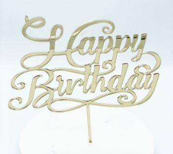 Cake Topper Plexi Happy Birthday Oro  20 x 15 cm