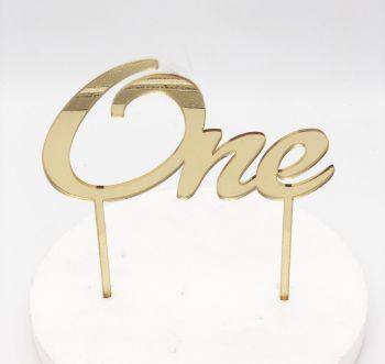 Cake Topper Plexi One Oro 15 x 10 cm