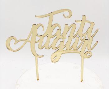 Cake Topper Plexi Tanti Auguri Oro  20 x 15 cm