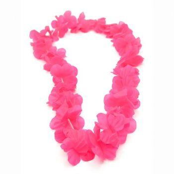Collana di fiori hawaiana fucsia 130 cm