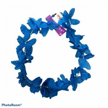Collana di fiori hawaiana con perline blu 100 cm