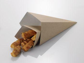 Cono da asporto per fritti 9,5 x 9,5 x 22,5 cm 50 pz