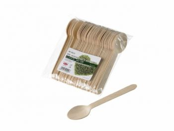 Cucchiaini in legno di betulla naturale 9.5 cm 48 pezzi