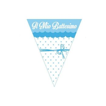 Festone a Bandierine Il mio Battesimo azzurro con fiocco 2.3 mt