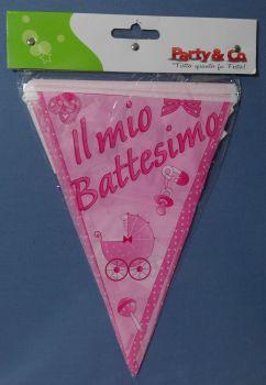 Festone a Bandierine Il mio Battesimo rosa 2.3 mt